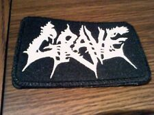 GRAVE,SEW ON WHITE EMBROIDERED PATCH
