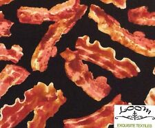 RPG272X Bacon Food Grease Meat Lover Breakfast Fry Yummy Quilting Cotton Fabric