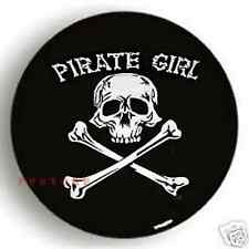 "SPARE TIRE COVER 26""-28.6"" pirate girl skull on samurai black zw694382p"