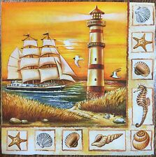2 single paper napkins decoupage collection Serviette Sea Lighthouse Shell Boat