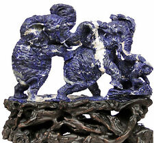 "21.26""Natural Sodalite Elephant Family carving  home decor sclupture #M58"