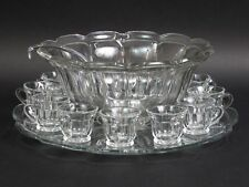 Vintage Hawkes Glass Punch Bowl Set w/12 Cups + Plate Signed - MINT!