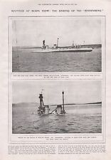 "1919-VINTAGE PRINT- SCUTTLED AT SCAPA FLOW, SINKING OF THE ""HINDENBURG"""