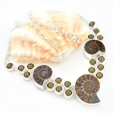 Amazing Gorgeous Natural Ammonite Fossil Smoky Quartz Gems Silver Chain Necklace