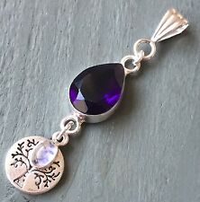 Purple Glass & 925 Silver Rainbow Moonstone Charm, Tree Of Life Pendant Wicca