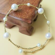 New Pure Solid 18K Yellow Gold Bracelet  100% Natural Seawater Pearl Bangle