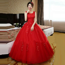 Women's Party Red O-Neck Solid Lace Floor-Length Ball Gown Dress
