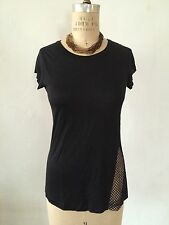 A.L.C. Black Scoop Neck Short Sleeve 100% Viscose Knit Tee Sz S