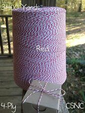 Red +  White Variegated Cotton Baker's Twine 2 lb. Cone - 3,400 Yards - 4-Ply