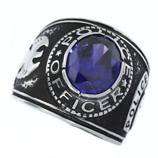 POLICE OFFICER PURPLE STONE SILVER SS RING SIZE 8 9 10 11 12 13 14