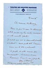 ALBERT WILLEMETZ A EMILE VUILLERMOZ DES BOUFFES PARISIENS EN 1935