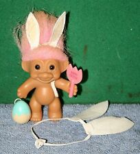 Vintage Easter Bunny Troll Doll by Russ With Bunny Ears, Easter Egg & Sign