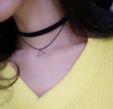 Fashion Jewelry Black Two Double Layers Triangle Choker Collar Necklaces