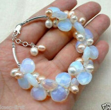Opal and Fresh Water Pearl Cluster Bracelets