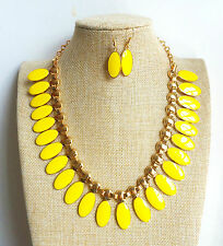 Gold Plated Yellow Oval Enamel Pendant Necklace Earrings Bridal Bridesmaid