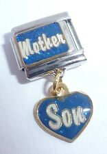 MOTHER SON 9mm Italian Charm - I Love My Mum Boy Blue Heart fits 9mm Bracelets