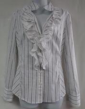 WHITE HOUSE BLACK MARKET 8 White Black Silver 60% Cotton Blouse Shirt Top M