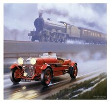 LNER Lagonda Car 1930s Newcastle Railway Engine Steam Train Poster Birthday Card
