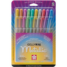Sakura GELLY ROLL 10 METALLIC Pens 1.0mm ball Medium Line 57370 Brand NEW!