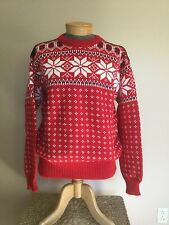 LL Bean Women's Sweater 100% Wool XL Red Navy Snowflake  Crewneck Norway Ski EUC