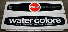 New Old Stock Vintage Prang Watercolor Plastic Box 16 Color Paint Set with Brush
