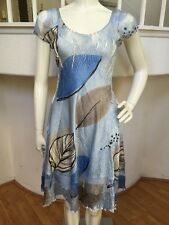 Komarov Light Blue Leaf Pattern Crinkled Lace Contrast Dress Sz M NWOT!