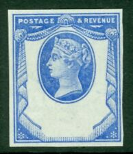 1894 reply paid essay imperforate plate proof in blue on crown watermarked gumme