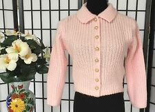 AUTH VTG Barbara Carol Wom S/M GORGEOUS Pearl Buttonfr PINK Cable Knit Sweater