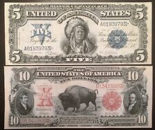 Replica Copy Pair $5 Silver Certificate Indian Chief 1899 $10 US Note Bison 1901