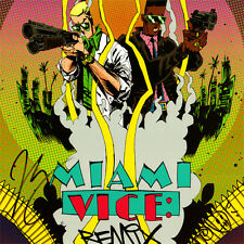 MIAMI VICE REMIX Signed ART PRINT Joe Casey JIM MAHFOOD 17x11 LION FORCE COMICS