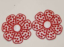 2 Red Hat Flower Fabric Appliques / Accent Appliques to Sew or Iron on Shirt/at