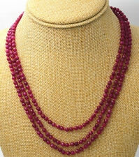 Jewelry 3 rows 4mm faceted Brazil red Ruby bead necklace 17-19 ""