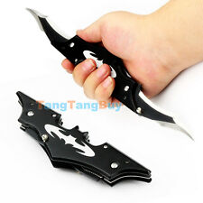 Folding Cool Pocket Dark Knight Black Batman Double Blade Bladed Knife Kit New