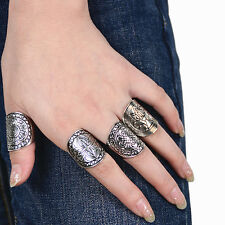 Popular Bohemian Vintage Carved Totem Ethnic Silver Plated Midi Rings Set 4Pcs