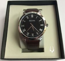 BULOVA Men's Classics Stainless Steel Black Dial Brown Leather Band WATCH 96A184