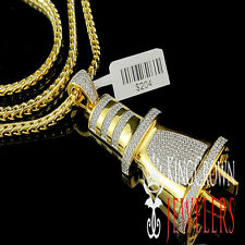 Mens 14K Yellow Gold Finish Lab Diamond Pendant Socket Plug Fuse Charm Chain Set