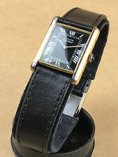 MUST DE CARTIER PARIS 925 SILVER GOLD PLATED Black Face SWISS WATCH Roman Dial
