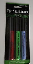 Fright Night Halloween Hair Mascara Trio Pack Red Green Periwinkle Blue