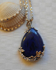 Lovely lapis lazuli tear drop gemstone pendant silver plated necklace flowers