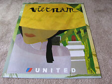 UNITED AIRLINE VIETNAM TRAVEL POSTER TINOU LE JOLY SENOVILLE UAL ISSUE ORIGINAL