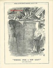 1875 Punch Cartoon New Year Turning Over New Leaf Reduce Accidents Shipwrecks
