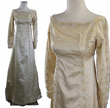 Vintage 60s beaded ivory silk wedding dress gown Priscilla of Boston