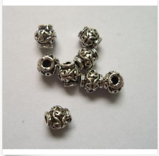 Free Shipping 50 Pcs Tibetan silver flowers charms spacer beads 6.5x7mm