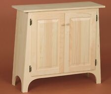 AMISH Unfinished Solid Pine - Shaker Slant Side 2 Door Cupboard Hall Console