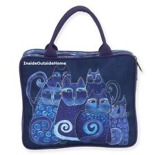 Laurel Burch Indigo Cats Large Travel Organizer Tote Bag Makeup Art Craft NEW