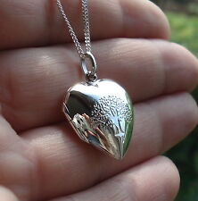 Solid 925 Sterling Silver Love Heart Tree Of Life Photo Locket Pendant Boxed