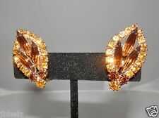 """Juliana Earrings Clip-on Gold & Brown Marquise Crystals Elegant  Vintage 1.25"""""""