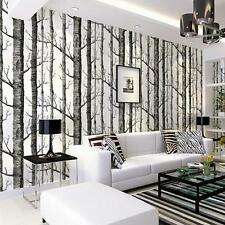 Forest Birch Tree Nonwoven  Modern Minimalist Black White Woods Wallpaper Roll