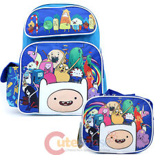 "Adventure Time 16"" Large School Backpack with Lunch Bag 2pc Boys Book Bag Set"