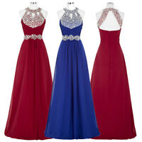 SEQUINS Halter Long Evening Formal Party Cocktail Gown Bridesmaid Prom Dress new